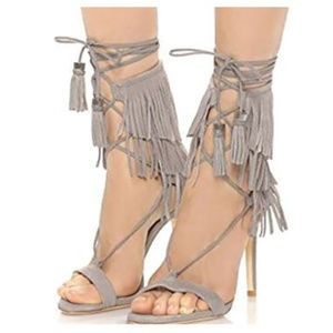 Schutz Kija Suede Fringe Wrap Stiletto Sandals